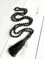 contas de pedras de ônix colares venda por atacado-108 talão colar de ônix ônix preto e colar de pedra de lava borla colares de jóias de yoga contas de oração colares contas black mala