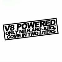 ingrosso parola auto di jdm-18cmx7.3cm Succo di latte alimentato all'ingrosso V8 2 litri adesivo divertente gara Mustang Jdm deriva parole decalcomania auto adesivo CA-606