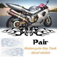 Wholesale motorcycle flame decals resale online - 2pcs x5inch Universal Motorcycle Gas Oil Tank Flames Skull Badge Decal Sticker