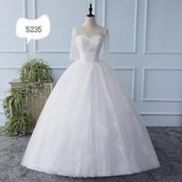 coreano moda vestido de casamento de manga longa venda por atacado-Vestido de casamento nova versão coreana moda lace o pescoço manga comprida emagrecimento vestido de noiva maxi