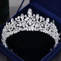 kadın başlıkları toptan satış-Muhteşem Prenses Büyük Düğün Taçlar Gelin Jewel Başlıklar Tiaras Kadınlar Gümüş Metal Cryst Avrupa Başlıklar Takı Gelin Aksesuarları