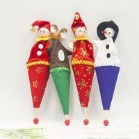 Wholesale santa puppets resale online - New Christmas Decorations Cartoon Christmas Barrel Doll Creative Santa Claus Snowman Puppet Xmas Wooden Children Toys