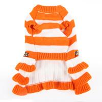 Wholesale dogs diapers resale online - Knitting Skirts Pet Dog Clothes Stripe Leopard Print Bowknot Dresses Winter Warmer Apparel Popular dg UU