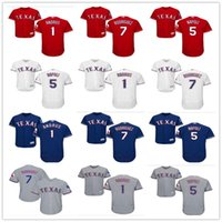 jersey de iván rodríguez al por mayor-2019 custom Texas Men Women Youth Majestic Rangers Jersey # 1 Elvis Andrus 5 Mike Napoli 7 Ivan Rodriguez casa niños blancos Béisbol