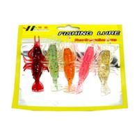 camarones luminosos suaves señuelos al por mayor-5 unids / lote Silicona Luminoso Camarón Suave señuelo de la pesca 8 cm 3.6 g 5 colores Artificial de alta Quanlity Pesca Pesca Aparejos
