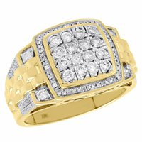 розовая полоса оптовых-10K желтое золото Алмаз шаг хвостовик квадратный уровень заявление мизинец кольцо группа 1.07 Ct