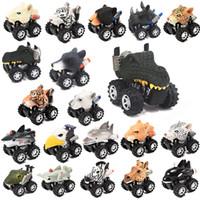 camiones de coches de juguete al por mayor-Día dinosaurio de juguete de regalo de los niños Modelo Mini coches de juguete parte de atrás del carro del coche de regalo de la manía divertido dinosaurio de juguete simulado tira del coche