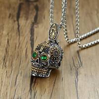 mexikanisches goldkreuzanhänger großhandel-Mexikanische Sugar Skull Halskette Herren Punk Green Eyes Gold Zähne Anhänger mit Gothic Kreuz Edelstahl Biker männlichen Schmuck