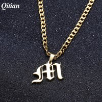 estilos de beleza de pingentes venda por atacado-Old English Style Custom Capital Initial A-Z Letter Pendant Necklaces Beauty Vintage Font Personalized Necklace For Men Jewelry