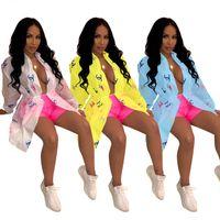 gelbe strickjacke lang großhandel-Frauen Designer Vertuschungen Sheer Cardigan Duster Lange Fledermaus Ärmel Gürtel Sonnencreme Shirt Sommermantel mit Gürtel Weiß Blau Gelb S-2XL