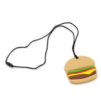 colar do silicone do bfa fda venda por atacado-BPA-Free 100% FDA Silicone Autismo Chew Colar Brinquedos Adorável Hamburger Design Melhor para dores nas gengivas Alívio Da Dor E Crianças Com Necessidades Especiais