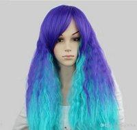 isıya dayanıklı saçlar kıvırcık toptan satış-PERUK ÜCRETSIZ NAKLIYE Sıcak isıya dayanıklı Parti hairNew Cosplay Moda Uzun Saç Kadın Kıvırcık Dalgalı Tam Peruk