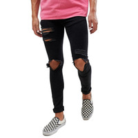 moda jeans grandes buracos venda por atacado-Moda Grande Buraco Design Calças De Brim Pretas Mens Adolescente Roupas Hombres Hiphop Skate Jeans Motociclista
