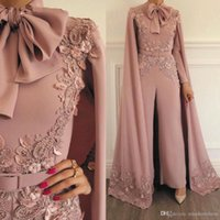 Wholesale dresses for evenings for sale - Group buy Woman Jumpsuit Vintage Capped Lace Applique Beaded For Evening Party Long Sleeves Floor Length Formal Muslim Dresses Gowns