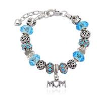 collier de perles de verre coeur bleu achat en gros de-Mode 925 Sterling Argent Cristal Bleu Murano Verre Murano Verre Européen Charme Perles Coeur Dangle Convient Pandora Charme Bracelets Collier