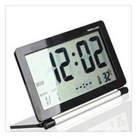 wecker freies verschiffen großhandel-Elektronischer Wecker-Multifunktionsstille Temperatur LCD Digital Großbild-Reiseschreibtisch-Wecker Freies Verschiffen