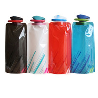 Wholesale folded water bottle resale online - Portable Folding Water Bag ML Creative Outdoor Sports Trekking Trips Kettle Climbing Foldable Water Cup With Pothook TTA1555
