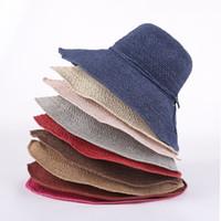 elegante sommerhüte großhandel-Frauen Mode Bowknot Strohhut Sommer Folding Hand Made Breiter Krempe Kappe Dame Elegante Reise Strand Sonnenhut LJJT807