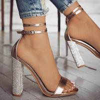 açık toled topuk ayakkabıları toptan satış-Bahar Yaz Moda Elbise Ayakkabı Seksi Kalın Topuk Sandalet Glitter Deri Toka Açık ağızlı Sandalet Bayanlar Ayakkabı Düğün