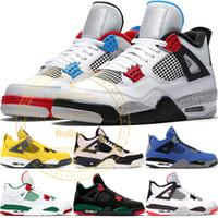 chemins de table bordeaux rouge achat en gros de-2019 Nike Air Jordan 4 Retro New Bred 4 4S IV Qu'est-ce que le Silt Red Splatter Hommes Chaussures de Basketball Denim Bleu Eminem Pale Citron Sports Designer Sneakers 41-47