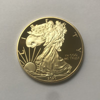 aigles d'or achat en gros de-10 Pcs The Freedom Eagle 2020 badge 24K gold plated 40 mm commemorative coin American statue liberty souvenir drop shipping acceptable coins