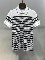 черные футболки с белыми полосами оптовых-Balmain мужские дизайнерские футболки черные белые полосы мужские модные дизайнерские футболки топ с коротким рукавом M-3XL