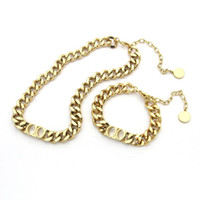 Wholesale string necklace for pendant for sale - Group buy Fashion stainless steel letter k gold cuban link chain necklace bracelet for mens and women Party lovers gift hip hop jewelry With BOX