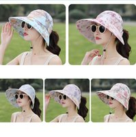 Wholesale ponytail girls resale online - Floral Sun Visor Hats Colors Women Summer Wide Brim UV Protection Cap Outdoor Beach Ponytail Hats OOA6602