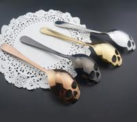 15x3.4cm Skull Shaped Stainless Steel Spoons Dessert Ice Cream Sweets Teaspoon Sugar Stir Coffee Spoons