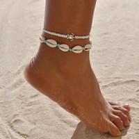 europäischer perlenstrand großhandel-Europäische und amerikanische neue exquisite modische Frauen Fußkettchen kreative Retro-Strand Schildkröte Shell Perlen Push-Pull Fußkettchen Set 2 Stück