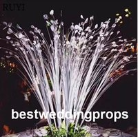 Wholesale peacocks decorations resale online - New style popular selling artificial decorative white grass wedding peacock grass flower stand centerpieces for wedding decoration best0570