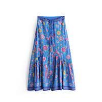 saias de pássaros venda por atacado-Estilo Étnico do vintage Cor Azul Flor / Bird Print Saia Elastic Cintura Tassel Lace Com Hem Costura Decorativa Nacional Saia