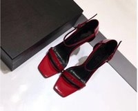 Wholesale open front dresses women resale online - Red Black Patent Leather Gladiator Sandals Women Unique Metal High Heels Pumps Famous Brand Ankle Strap Dress Wedding Shoes mh189603