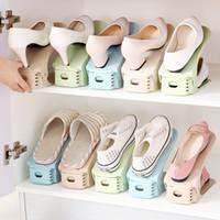 регулируемые подставки для обуви оптовых-Nordic Регулируемая стойка для обуви Интегрированный держатель для обуви Трехмерная простая пластиковая стойка для обуви Двухэтажная стойка для коллекции обуви
