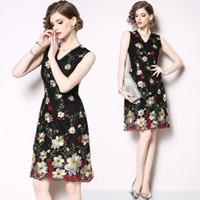 soylu nakış toptan satış-İlkbahar Yaz Yeni Yüksek Kalite Elbise Kolsuz V Yaka Bayan Elbise Moda Asil Nakış Elbiseler Balo Abiye