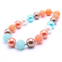 Wholesale kids chunky beads necklace resale online - Thanksgiving Style Kid Chunky Necklace Orange Color Design Bubblegum Bead Chunky Necklace Children Jewelry For Toddler Girls