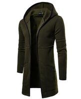 rote strickjacken der männer großhandel-Long cape hoodie herren hip hop hoodies mode strickjacke sweatshirt mantel frühling herbst winter oberbekleidung mantel M-XXL schwarz grün grau weinrot