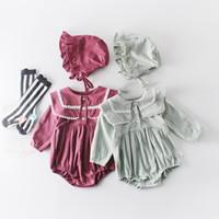 çocuklar için giyim giysileri toptan satış-Bebek Kız Tasarımcı giyim Romper Uzun Kollu Katı Renk Pet Pan Yaka romper bebek çocuklar 100% pamuk Bahar Güz kız giyim