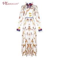 ingrosso abiti di mezza età in boemia-Vintage Runway Dresses 2019 Fashion Spring Flowers Stampa Mid-Calf Ruffles Slim Bohemian Casual beige abito pieghettato