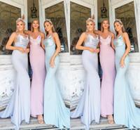 сиреневые огни оптовых-2019 дешевые лето сиреневый светло - голубой Русалка платья невесты ремни спагетти длина пола фрейлина платья для свадьбы BM0605