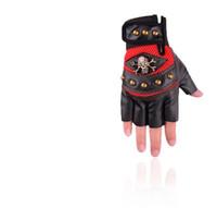 ingrosso mezzo uomo di guanti in pelle-Guanti da equitazione moda Skull da uomo Outdoor Fitness, Respirazione, Assorbimento urti, Skid Mountain Bike Sport Half-fingered PU Glo
