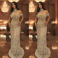 sirena cuello alto vestidos de fiesta al por mayor-Cristales de diamantes de imitación de lujo vestidos de baile Granos de cuello alto Manga corta Vestido de fiesta de sirena brillante Impresionante Dubai Celebrity vestidos de noche