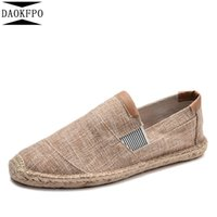 новые пароли оптовых-DAOKFPO New Mens Shoes Casual Male Breathable Canvas Shoes Men Chinese Fashion 2019 Soft Slip On Espadrilles For Men Loafers