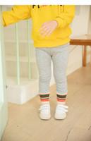 kleine strumpfhosen groihandel-Mädchen farbiger Streifen plus Fleece Leggings Winter-2019 Kinder-Boutique Kleidung 1-5T Little Girls Solid Color Warm Tights All-Match