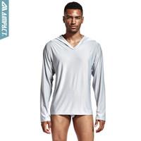 мужские рубашки оптовых-Men's Polyester Satin Pajama Hooded Silk Shirts for men Long Sleeve Sexy Nightwear Comfortable Sleepwears Male PS503