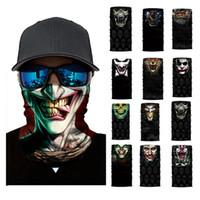 sombrero mágico al por mayor-3D sin fisuras pasamontañas bufanda mágica del cuello de la mascarilla del cráneo del fantasma de la cabeza esquelética del pañuelo Escudo headwear Bandana hombres de bicicletas