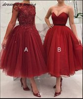 ingrosso abito di sfera di tulle di lunghezza del tè rosso-Maniche lunghe Red Short Prom Dresses A E B Ball Gown Tulle Borgogna Tea-Length Evening Party Dress Vestido Festa 2019
