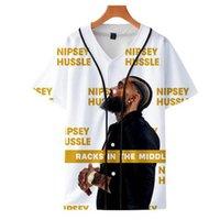 homens quentes v camisetas venda por atacado-Nipsey Hussle 3D Printed beisebol Tshirts 2019 Venda quente Mulheres / Homens de moda verão de manga curta t-shirts Hip Hop Streetwear Camiseta