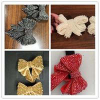 weiße diamantaufladungen ferse großhandel-Crystal Bow-Knoten Gold Silber Rot Weiß Diamanten Schmetterling Abnehmbare Bow Zubehör für Sandale Ferse Stiefel für Frauen