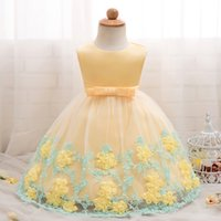 Wholesale summer baptism gown for sale - Group buy 2019 Fashion Summer Baby Dress Girl Flower Wedding Gown Birthday Party Dress Kids Vestidos Baptism Clothes